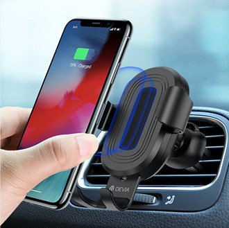 Devia - 10W Wireless Charging Gravity Sensor Air Vent Car Holder - Black